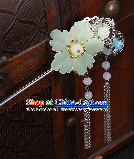Handmade Asian Chinese Classical Hair Accessories Green Flower Hairpins Hanfu Tassel Step Shake for Women