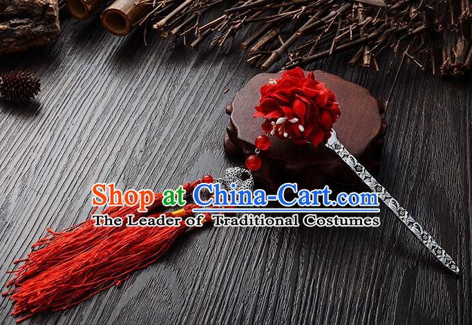 Handmade Asian Chinese Classical Hair Accessories Hairpins Hanfu Red Flower Tassel Hair Stick for Women