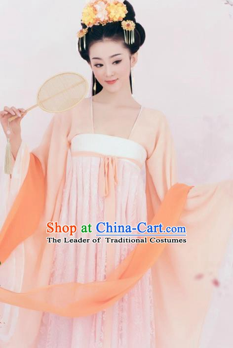 Traditional Chinese Ancient Tang Dynasty Royal Princess Embroidered Hanfu Clothing and Headpiece Complete Set