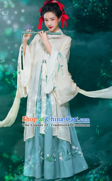 Traditional Chinese Tang Dynasty Princess Costume, China Ancient Palace Lady Embroidered Hanfu Clothing