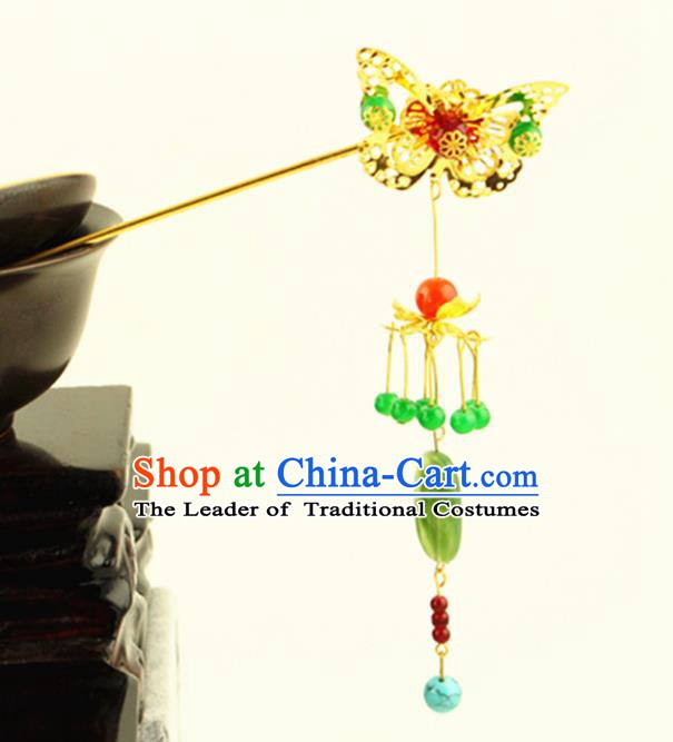 Asian Chinese Handmade Classical Hair Accessories Princess Hairpins Butterfly Tassel Step Shake for Women