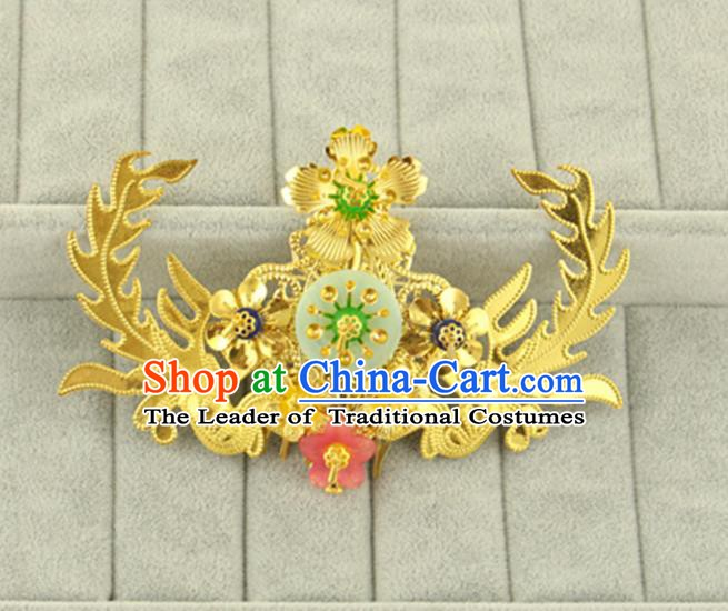 Asian Chinese Handmade Classical Hair Accessories Bride Golden Hair Comb Hanfu Hairpins for Women
