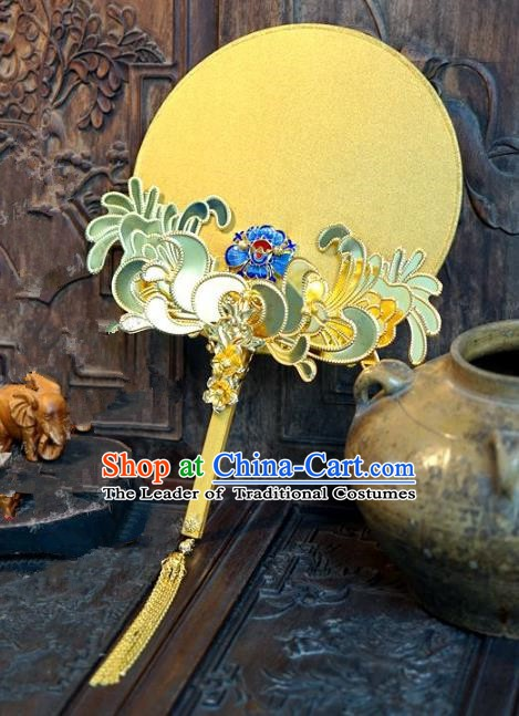 Chinese Handmade Classical Stage Performance Golden Fans Ancient Palace Lady Blueing Round Fans for Women