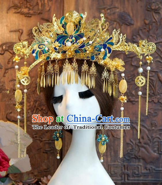 Chinese Handmade Classical Luxurious Hairpins Hair Accessories Ancient Cloisonne Phoenix Coronet for Women
