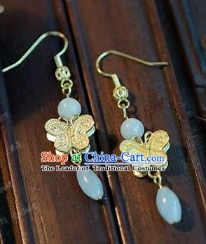 Asian Chinese Traditional Handmade Jewelry Accessories Bride Butterfly Jadeite Earrings for Women