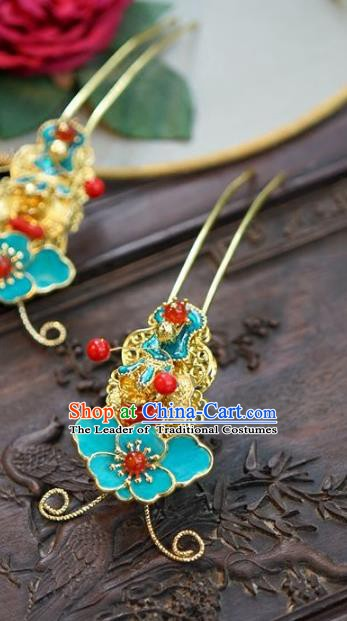 Chinese Handmade Classical Blue Hairpins Hair Accessories Ancient Hair Stick for Women