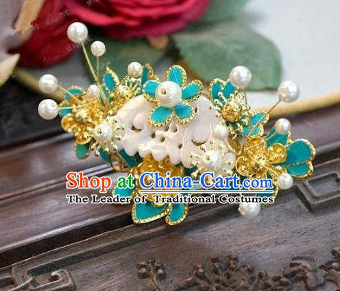 Chinese Handmade Classical Blue Hairpins Hair Accessories Ancient Hair Clip for Women