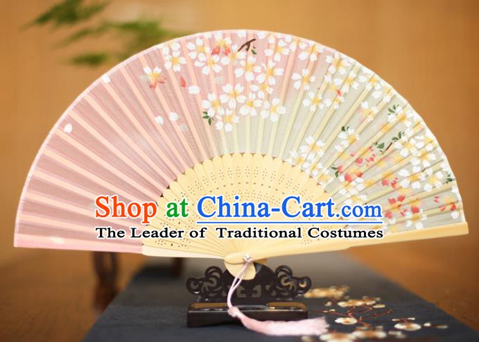 Traditional Chinese Crafts Printing Sakura Pink Folding Fan, China Sensu Paper Fans for Women