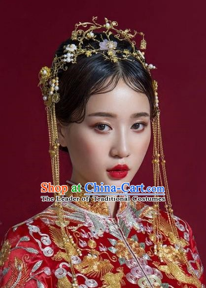 Chinese Ancient Handmade Classical Wedding Hair Accessories Xiuhe Suit Headwear Hairpins Complete Set for Women