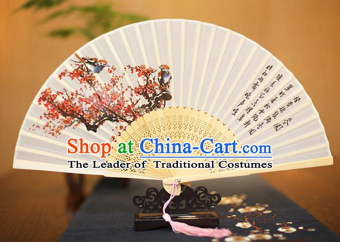 Traditional Chinese Crafts Printing Plum Blossom White Folding Fan, China Sensu Paper Fans for Women