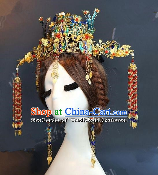 Chinese Ancient Handmade Classical Wedding Hair Accessories Xiuhe Suit Blueing Phoenix Coronet Headwear Hairpins for Women