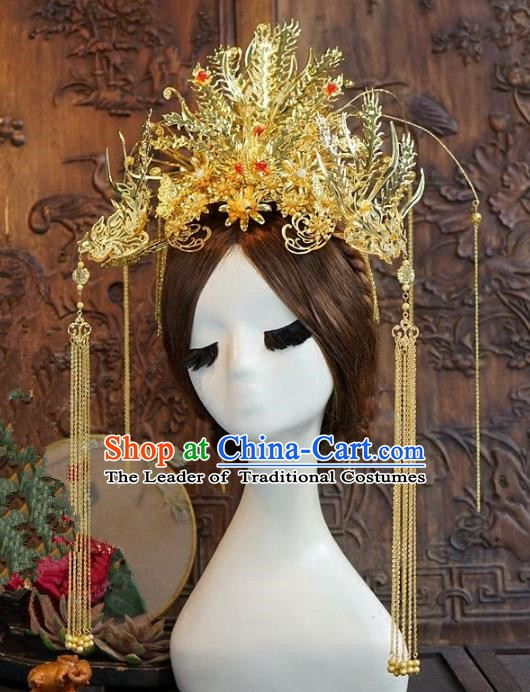Chinese Ancient Handmade Classical Wedding Hair Accessories Xiuhe Suit Golden Phoenix Coronet Hairpins for Women