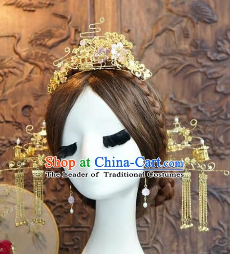 Chinese Handmade Classical Hair Accessories Ancient Palace Lady Golden Phoenix Coronet Hairpins for Women