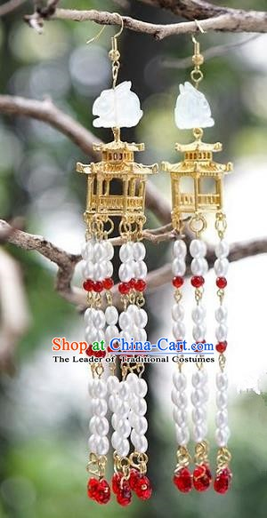 Asian Chinese Traditional Handmade Jewelry Accessories Hanfu Jade Earrings for Women