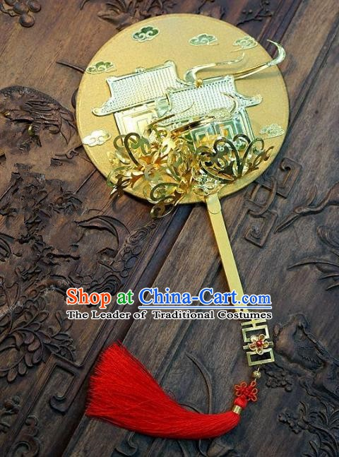 Chinese Handmade Classical Stage Performance Golden Fans Ancient Palace Lady Round Fans for Women