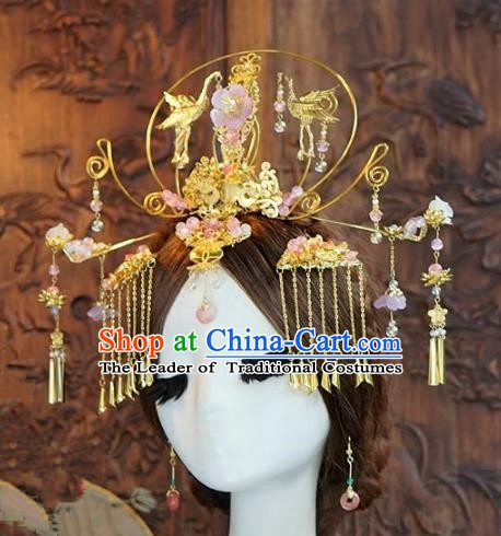 Chinese Ancient Handmade Classical Wedding Hair Accessories Xiuhe Suit Crane Phoenix Coronet Hairpins for Women