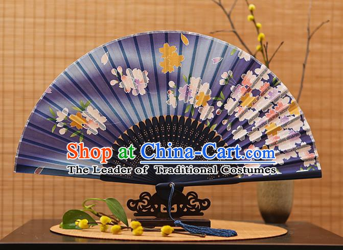 Traditional Chinese Crafts Printing Flowers Navy Folding Fan, China Sensu Paper Fans for Women