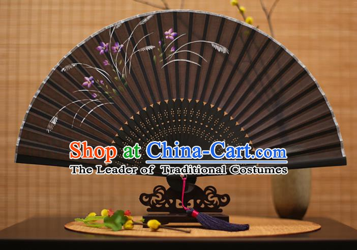 Traditional Chinese Crafts Printing Orchid Black Folding Fan, China Sensu Paper Fans for Women
