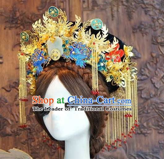 Chinese Handmade Classical Hair Accessories Ancient Qing Dynasty Palace Lady Phoenix Coronet Hairpins for Women