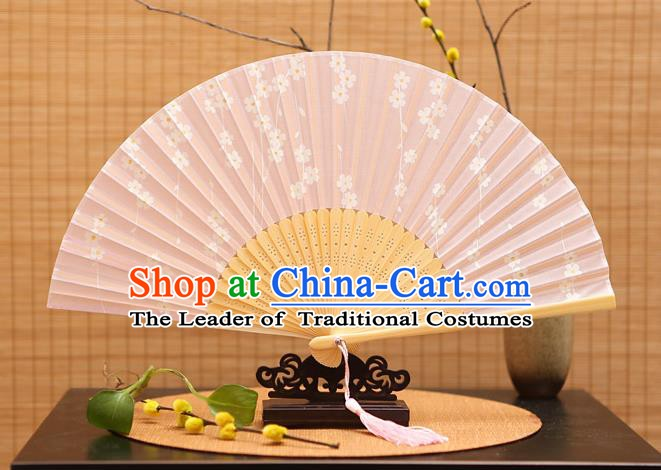 Traditional Chinese Crafts Printing Wisteria Pink Folding Fan, China Sensu Paper Fans for Women
