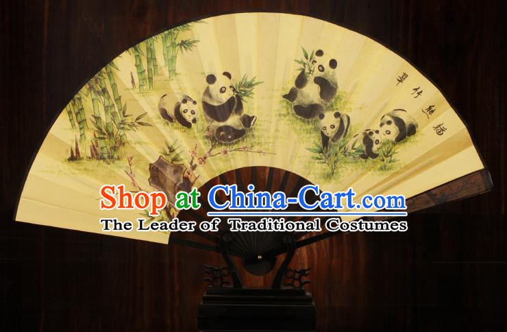 Traditional Chinese Crafts Printing Panda Folding Fan, China Sculpture Framework Silk Fans for Men