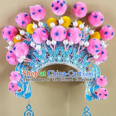 Chinese Beijing Opera Warriors Pink Venonat Headpiece, China Peking Opera Blues Helmet