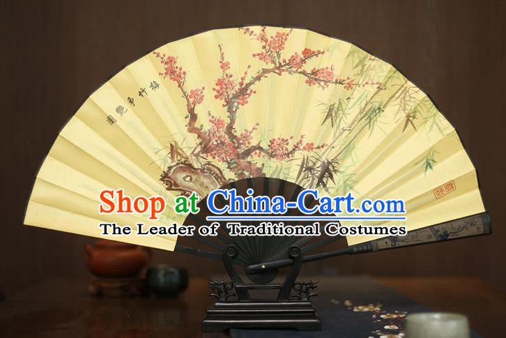 Traditional Chinese Crafts Printing Plum and Bamboo Folding Fan, China Sculpture Framework Silk Fans for Men