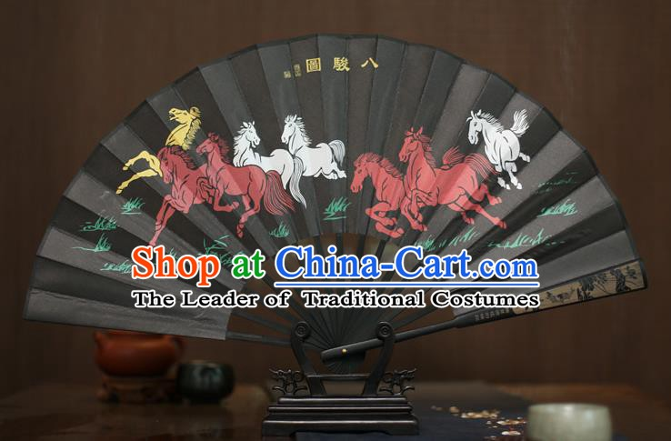 Traditional Chinese Crafts Printing Eight Horses Folding Fan, China Sculpture Framework Silk Fans for Men