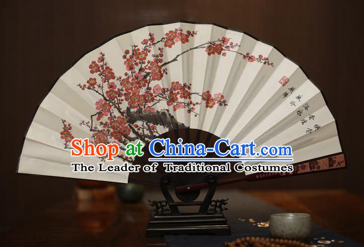 Traditional Chinese Crafts Printing Plum Blossom White Folding Fan, China Sculpture Framework Silk Fans for Men