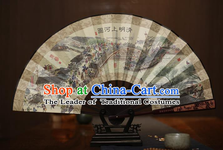 Traditional Chinese Crafts Printing Riverside Scene at Qingming Festival White Folding Fan, China Sculpture Framework Silk Fans for Men