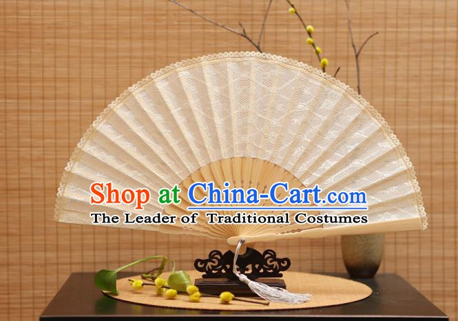 Traditional Chinese Crafts White Lace Folding Fan Hollow Out Fans for Women