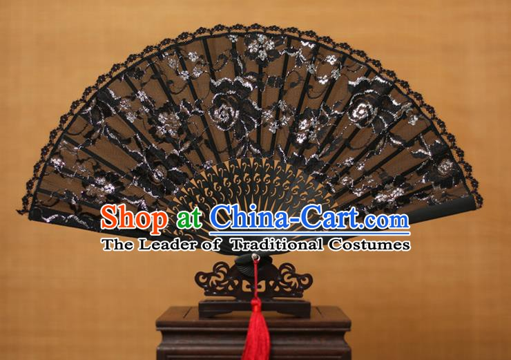 Traditional Chinese Crafts Black Lace Folding Fan Hollow Out Fans for Women