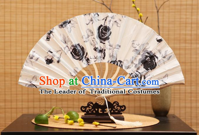 Traditional Chinese Crafts Printing White Silk Folding Fan Sensu Fans for Women