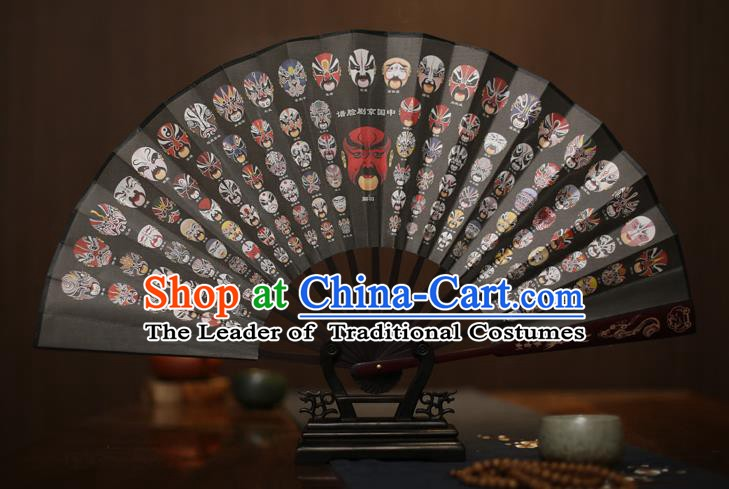 Traditional Chinese Crafts Printing Facial Makeup Black Folding Fan, China Sculpture Framework Silk Fans for Men