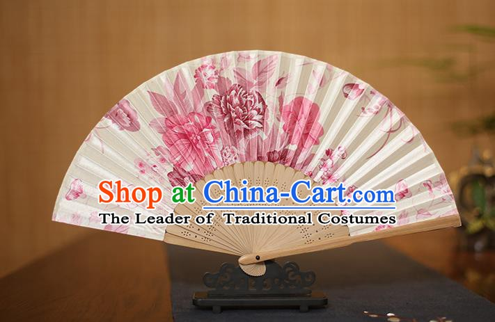 Traditional Chinese Crafts White Folding Fans Printing Flowers Silk Fan for Women