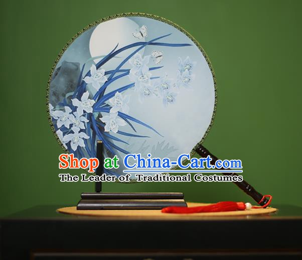 Traditional Chinese Crafts Printing Orchid Round Fan, China Palace Fans Princess Silk Circular Fans for Women