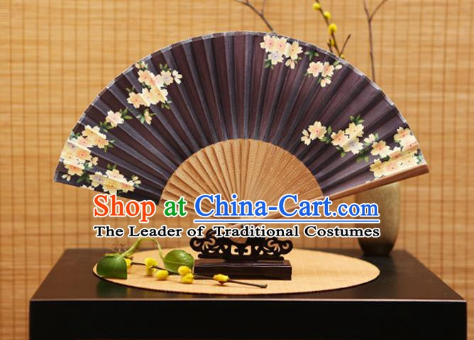 Traditional Chinese Crafts Folding Fans Printing Flowers Purple Silk Fan for Women