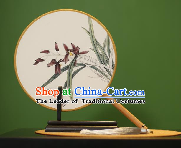 Traditional Chinese Crafts Painting Orchid Round Fan, China Palace Fans Princess Silk Circular Fans for Women
