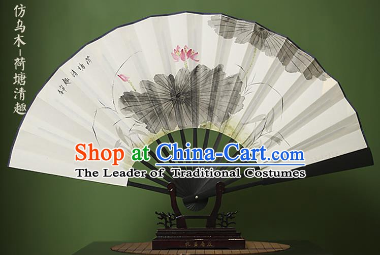 Traditional Chinese Crafts Ink Painting Lotus White Folding Fan Paper Fans for Women
