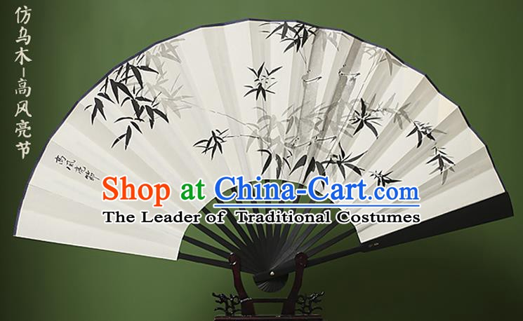 Traditional Chinese Crafts Ink Painting Bamboo White Folding Fan Paper Fans for Women