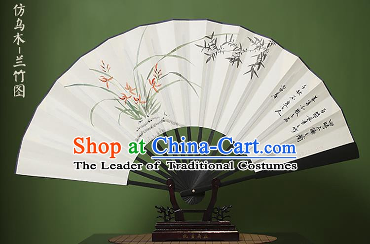 Traditional Chinese Crafts Ink Painting Orchid Bamboo Folding Fan Paper Fans for Women