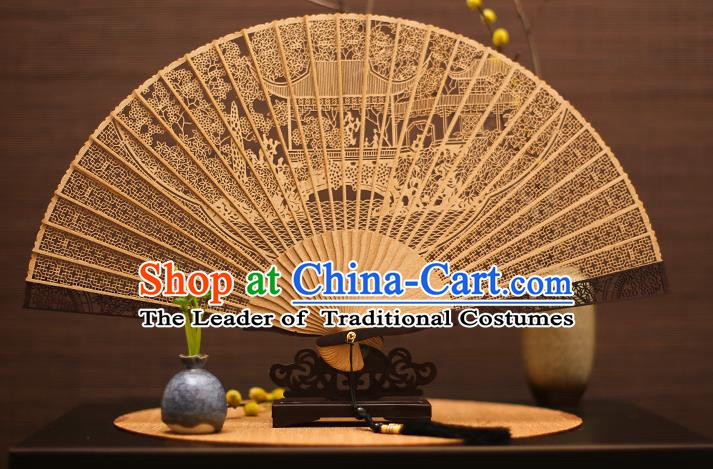 Traditional Chinese Crafts Sandalwood Palace Folding Fan Sandal Fans for Women
