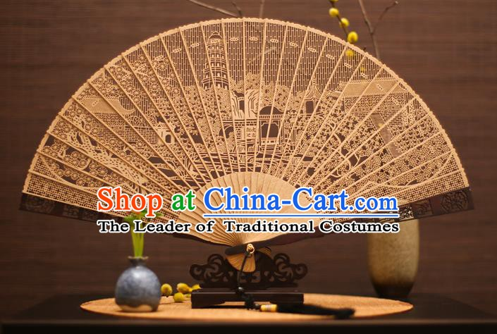 Traditional Chinese Crafts Sandalwood Pagoda Folding Fan Sandal Fans for Women