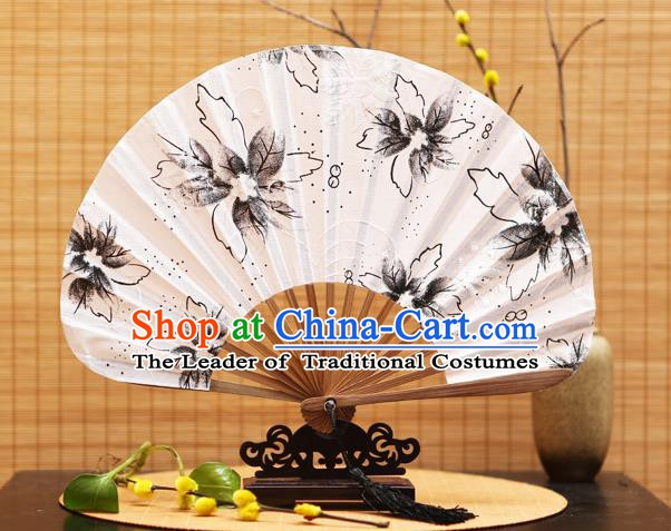 Traditional Chinese Crafts Shell Silk Folding Fan Ink Painting Flowers Bamboo Fans for Women
