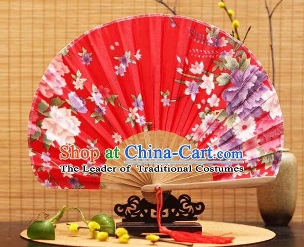 Traditional Chinese Crafts Shell Red Silk Folding Fan Ink Painting Flowers Bamboo Fans for Women