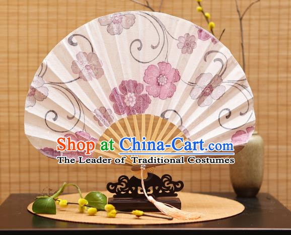 Traditional Chinese Crafts Shell Silk Folding Fan Ink Painting Purple Flowers Bamboo Fans for Women