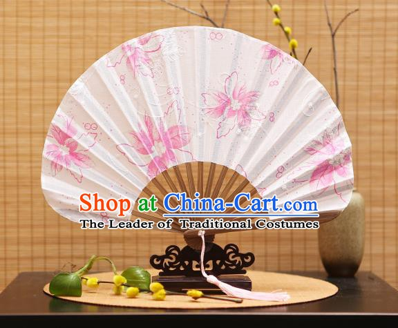 Traditional Chinese Crafts Shell Silk Folding Fan Printing Pink Flowers Bamboo Fans for Women