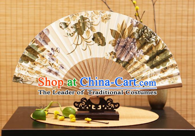 Traditional Chinese Crafts Folding Fans Painting Flowers White Silk Fan for Women
