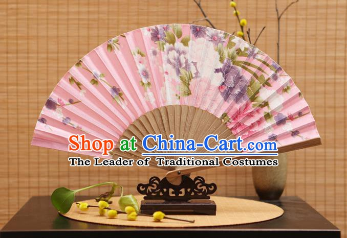 Traditional Chinese Crafts Folding Fans Painting Peony Flowers Pink Silk Fan for Women