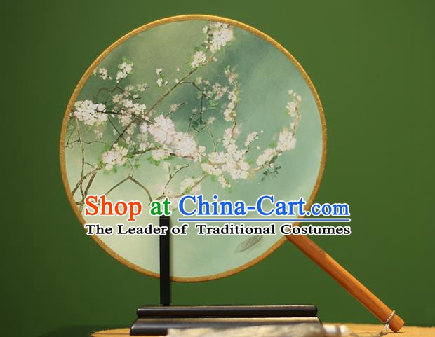Traditional Chinese Crafts Printing Rosewood Round Fan, China Palace Fans Princess Silk Circular Fans for Women